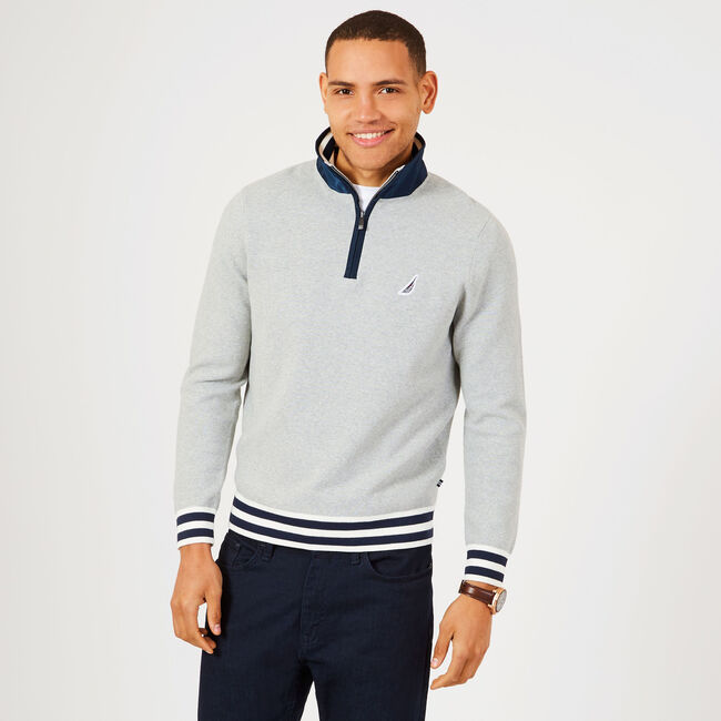 Contrast Stripe Quarter-Zip Sweater,Grey Heather,large