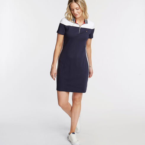 Convertible Colorblock Knit Shirtdress - Deep Sea