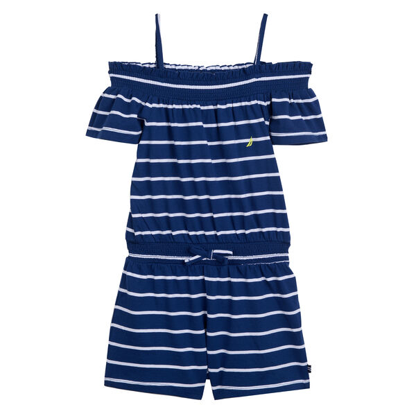 GIRLS' COTTON ROMPER - Aqua Isle