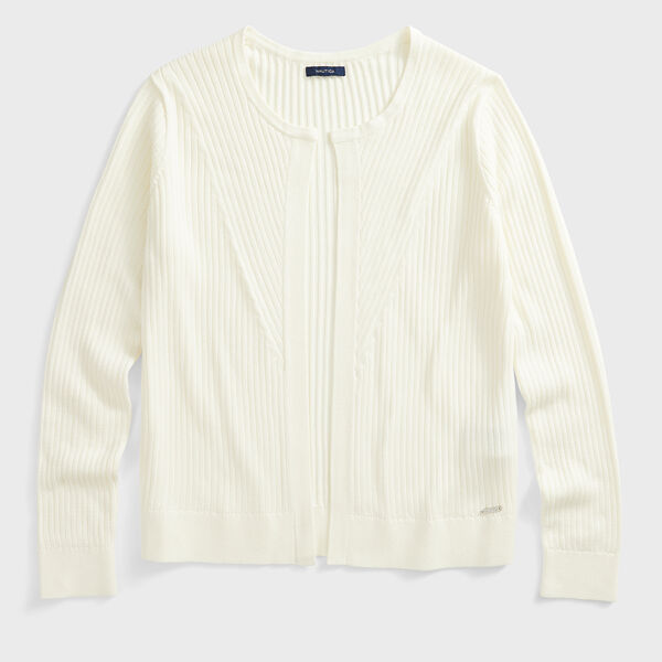 RIBBED OPEN-FRONT CARDIGAN - Marshmallow
