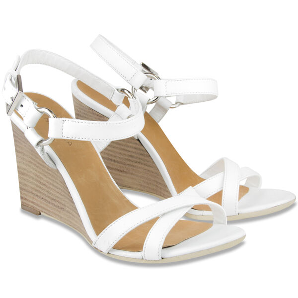 Isabella Wedges - Leather - Straw