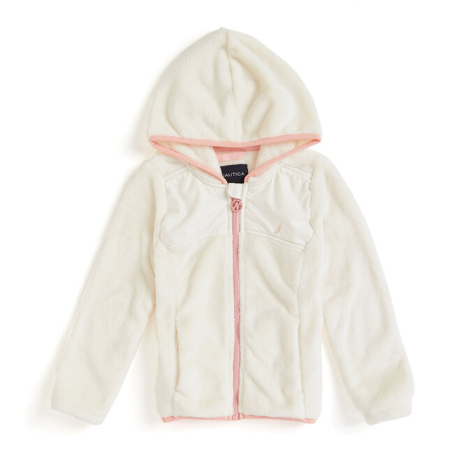 Little Girls' Micro Fleece Nautex Full-Zip Hoodie (4-6X),Bright White,large