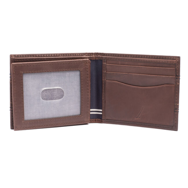 EMBROIDERED LEATHER SLIMFOLD WALLET,Brown Stone,large