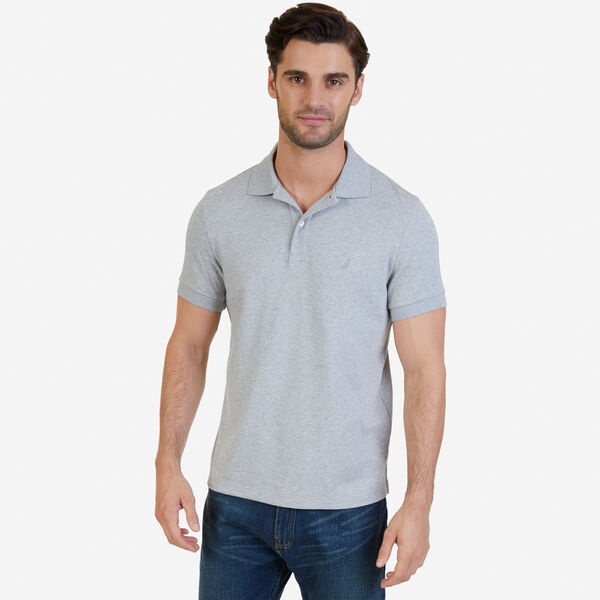 SLIM FIT INTERLOCK POLO - Grey Heather