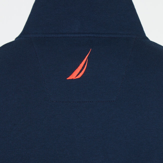 Long Sleeve Quarter-Zip Logo Pullover,Navy,large