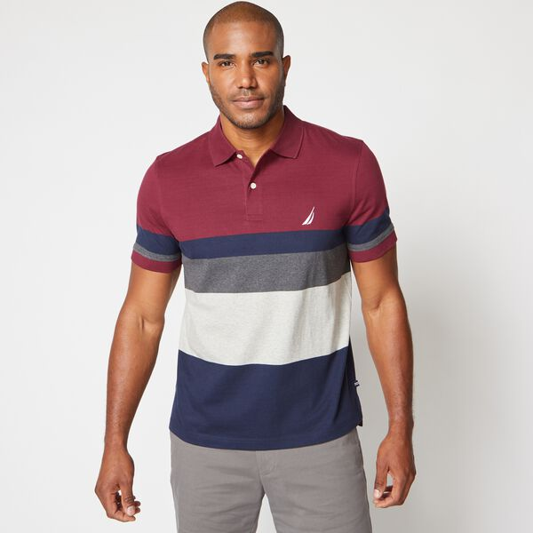 PREMIUM COTTON COLORBLOCK STRIPE POLO - Zinfandel