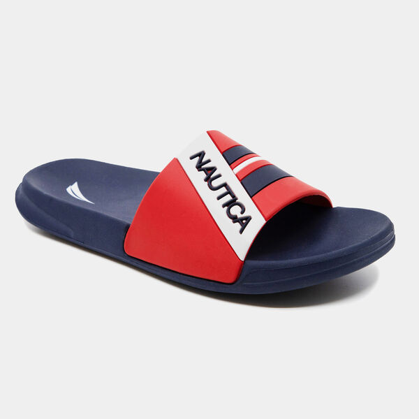 ADDEY STRIPE LOGO SLIDE SANDALS - Navy