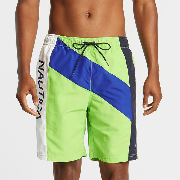 "8"" DIAGONAL PIECED SWIM TRUNK - Fresh Lime"