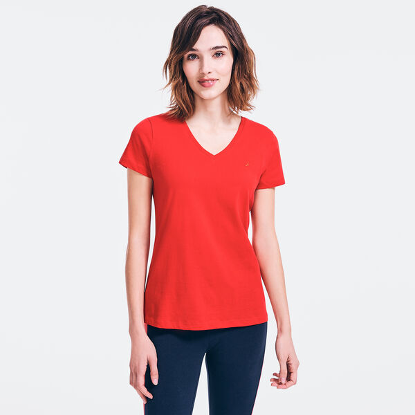 SOLID V-NECK T-SHIRT - Tomales Red