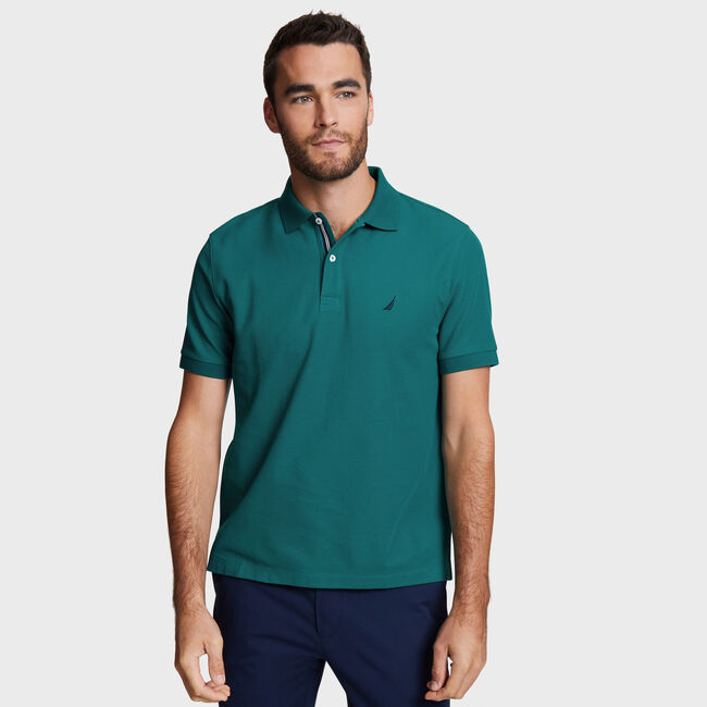 Solid Classic Fit Deck Polo Shirt,Shaded Spruce,large