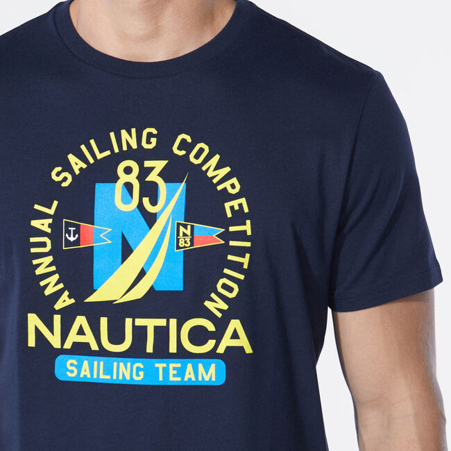 SAILING COMPETITION GRAPHIC T-SHIRT,Navy,large