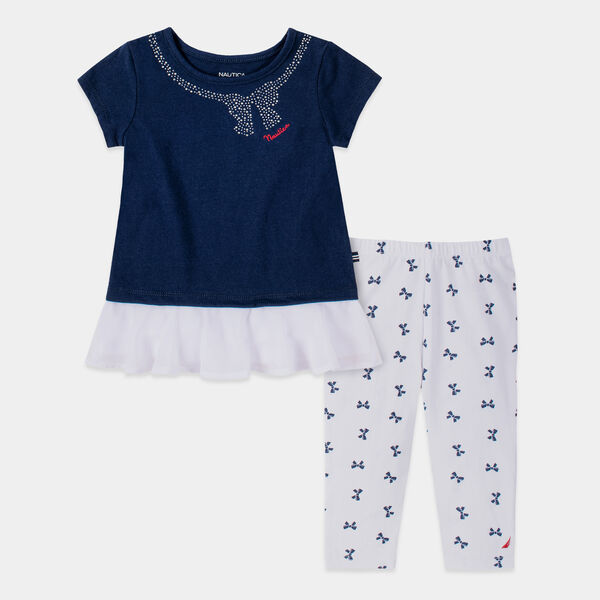 TODDLER GIRLS' BOW PRINT 2PC CAPRI SET (2T-4T) - Aquadream