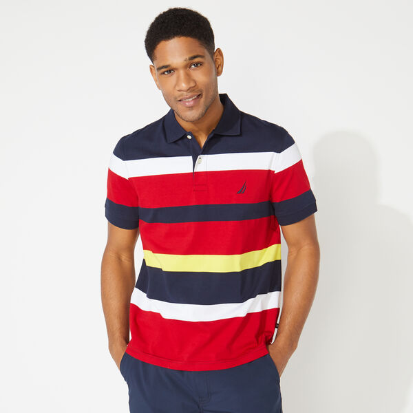 BIG & TALL CLASSIC FIT STRIPED POLO - Navy