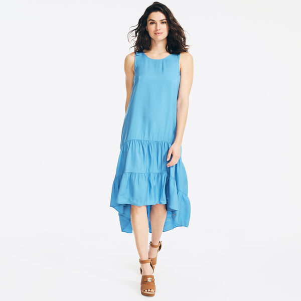 SUSTAINABLY CRAFTED TIERED HIGH-LOW DRESS - Distressed Blue Wash