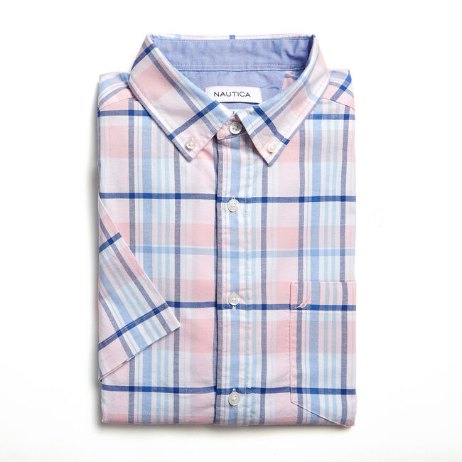 CLASSIC FIT SHORT SLEEVE OXFORD SHIRT IN PLAID,Orchid Pink,large