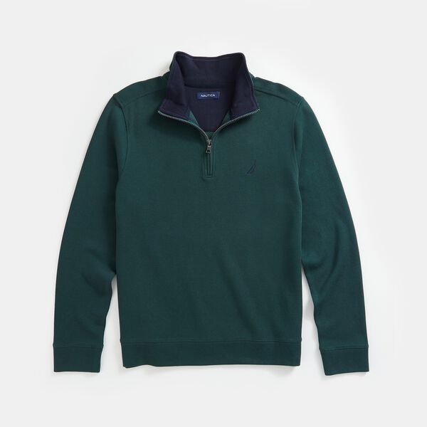 QUARTER-ZIP FRENCH RIBBED SWEATSHIRT - Green
