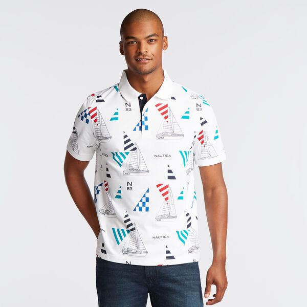 CLASSIC FIT PRINTED POLO IN GEO SAILING PRINT - Bright White