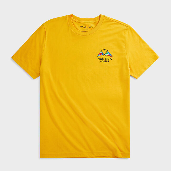 SUSTAINABLY CRAFTED CROSS FLAGS GRAPHIC T-SHIRT,Old Gold,large