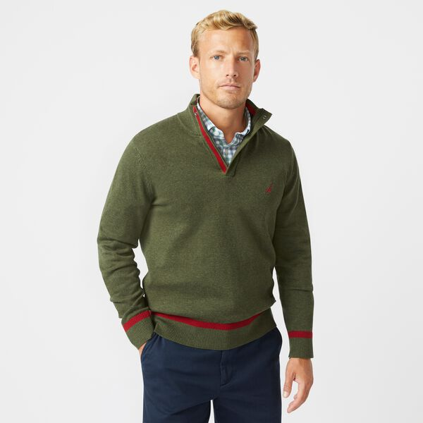STRIPED-TRIM QUARTER-ZIP SWEATER - Dark Hunter