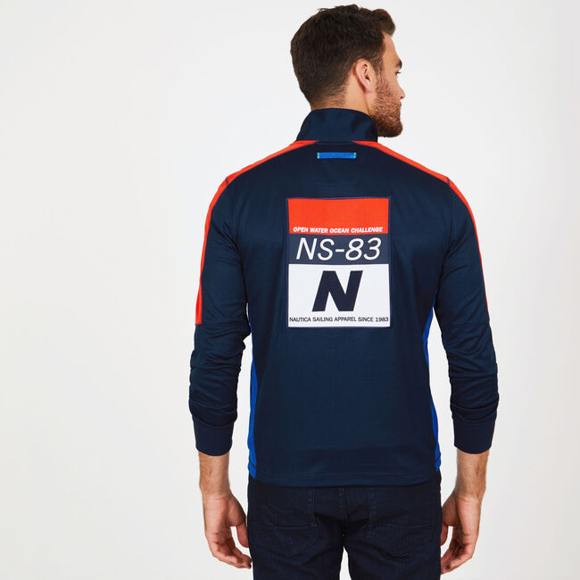 MOCK NECK PERFORMANCE PULLOVER,Navy,large