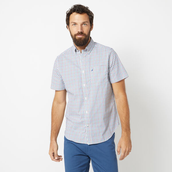 CLASSIC FIT WRINKLE RESISTANT SHORT SLEEVE SHIRT IN MINI TATTERSALL - Little Boy Blue