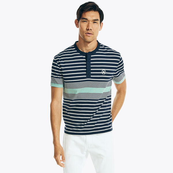 NAUTICA JEANS CO. STRIPED HENLEY - Navy