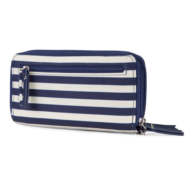 For Shoal Double Zip-Around Wristlet,Navy,large