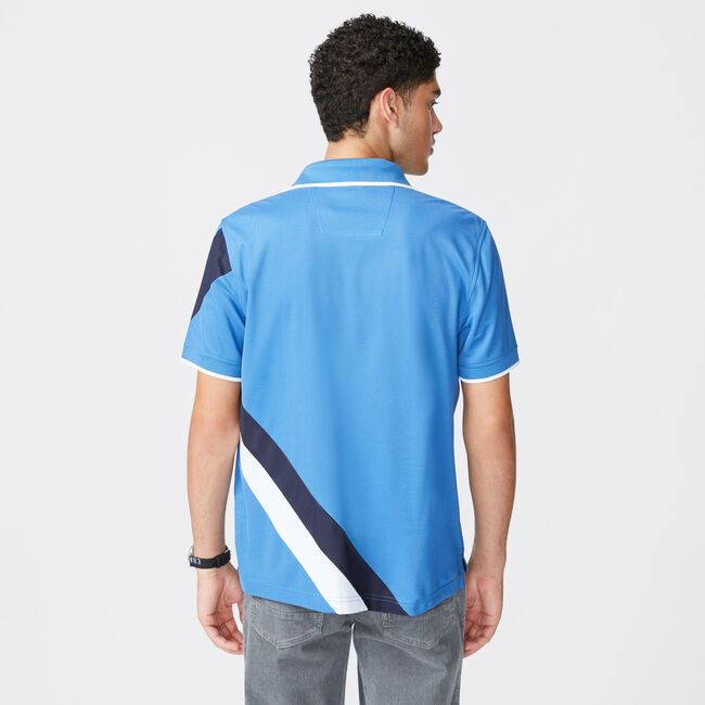 NAVTECH STRIPE AND LOGO GRAPHIC POLO,Nite Sea Heather,large