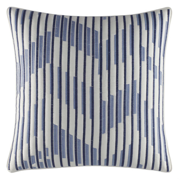 Waterbury Ivory & Navy Square Quilted Pillow - Navy