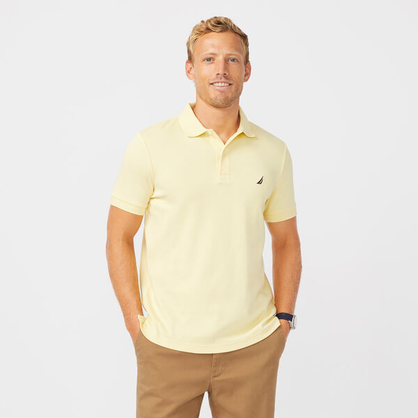 SLIM FIT INTERLOCK POLO - French Vanilla