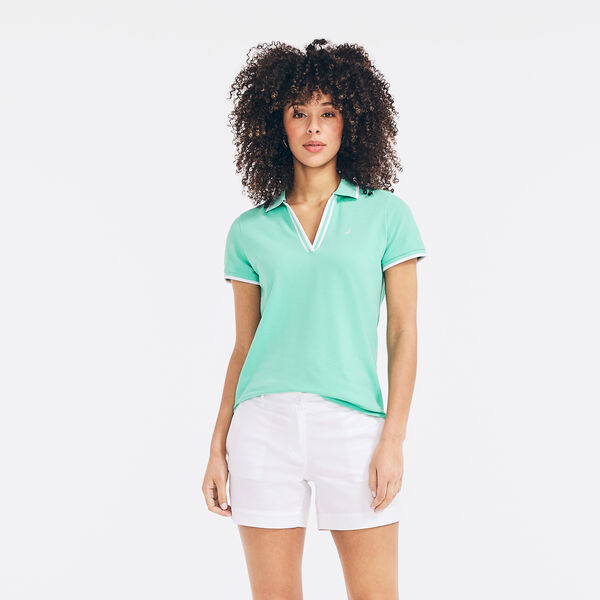 SUSTAINABLY CRAFTED CONTRAST-TRIM SPLIT-NECK POLO - Mint Spring