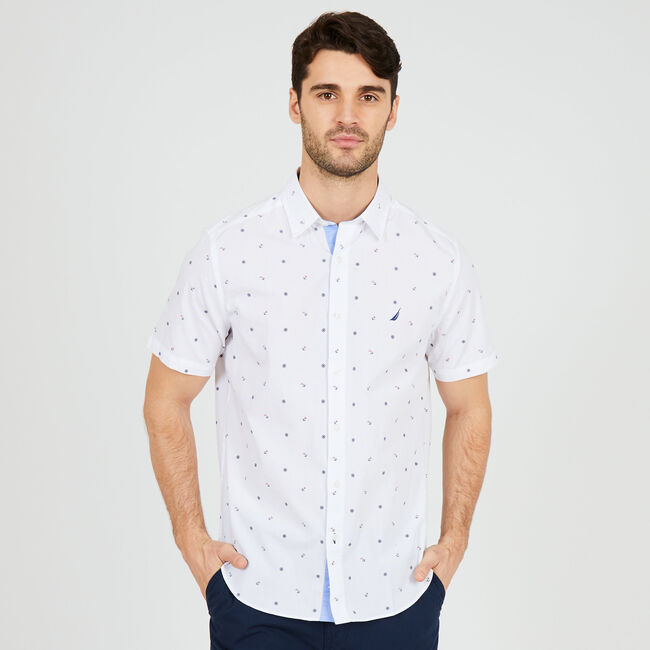 Allover Nautical Print Short Sleeve Button-Down Shirt ,Bright White,large