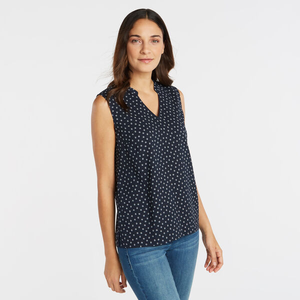 SLEEVELESS GEO FLORAL PRINT TOP - Stellar Blue Heather