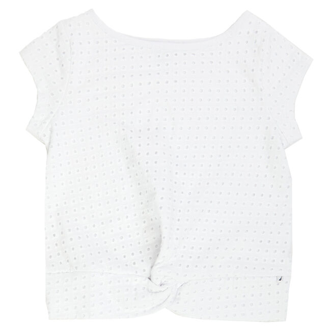 Little Girls' Eyelet Top (2T-7),Sail White,large