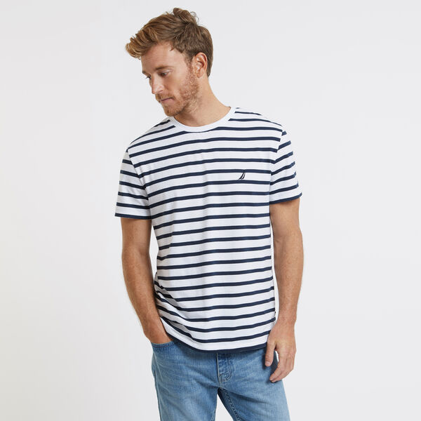 Short Sleeve Yarn Dyed Stripe Crewneck T-Shirt - Bright White