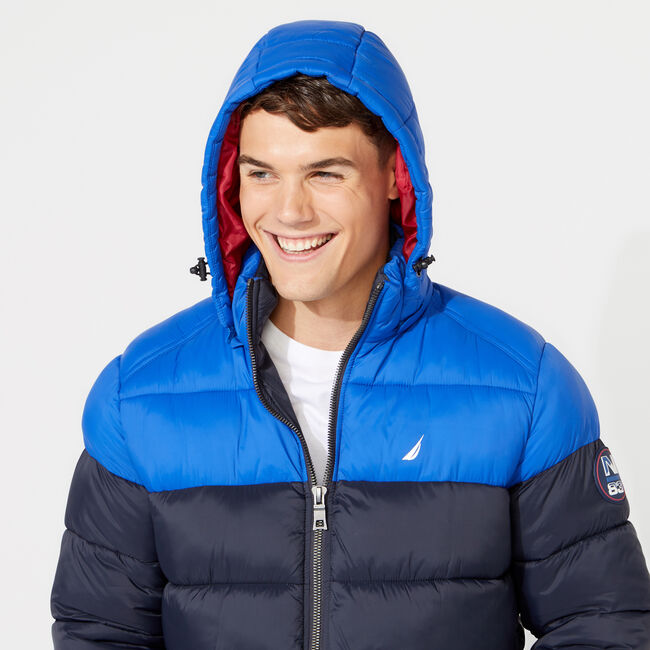 PUFFER JACKET WITH REMOVABLE HOOD,Admiral Blue,large