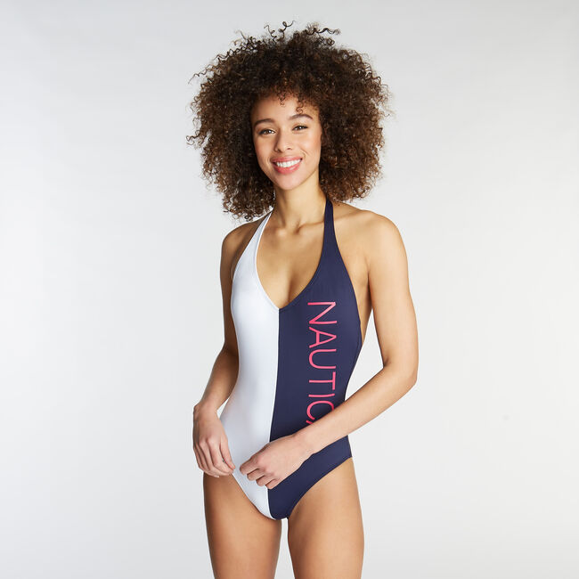 Halter One-Piece Swimsuit in Logo Colorblock,Coastline Turq,large