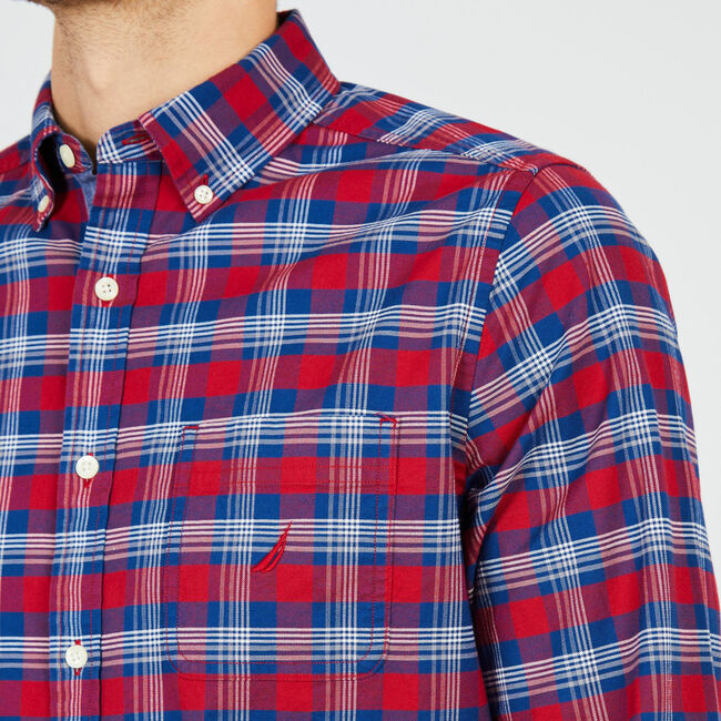 Plaid Classic Fit Oxford Long Sleeve Shirt,Rescue Red,large