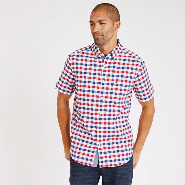 Short Sleeve Plaid Classic Fit Oxford Stretch Shirt,Nautica Red,large