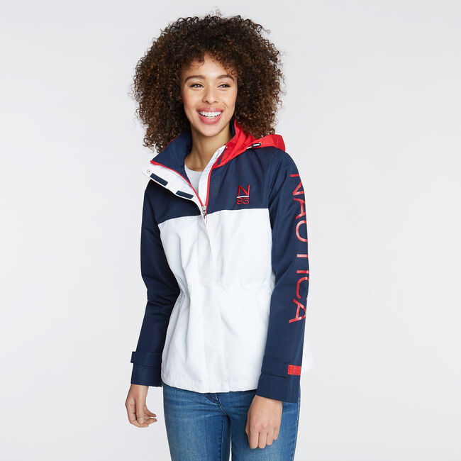 LOGO JACKET IN COLORBLOCK,Bright White,large