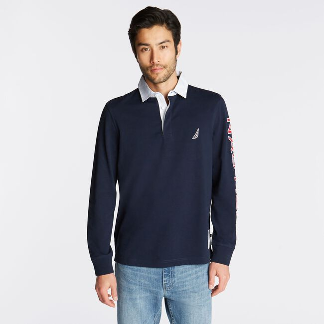 LONG SLEEVE ARM LOGO RUGBY,Navy,large