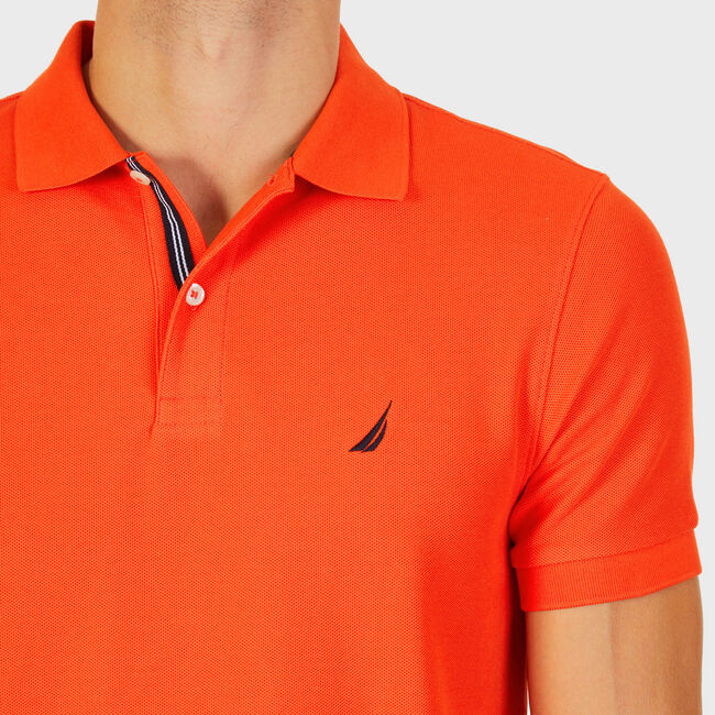 Short Sleeve Slim Fit Performance Tech Polo Shirt,Spicy Orange,large