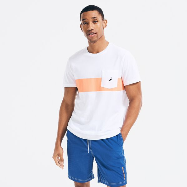 SUSTAINABLY CRAFTED CHEST-STRIPE T-SHIRT - Bright White