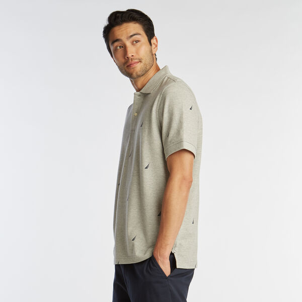 CLASSIC FIT J-CLASS PRINT MESH POLO - Grey Heather
