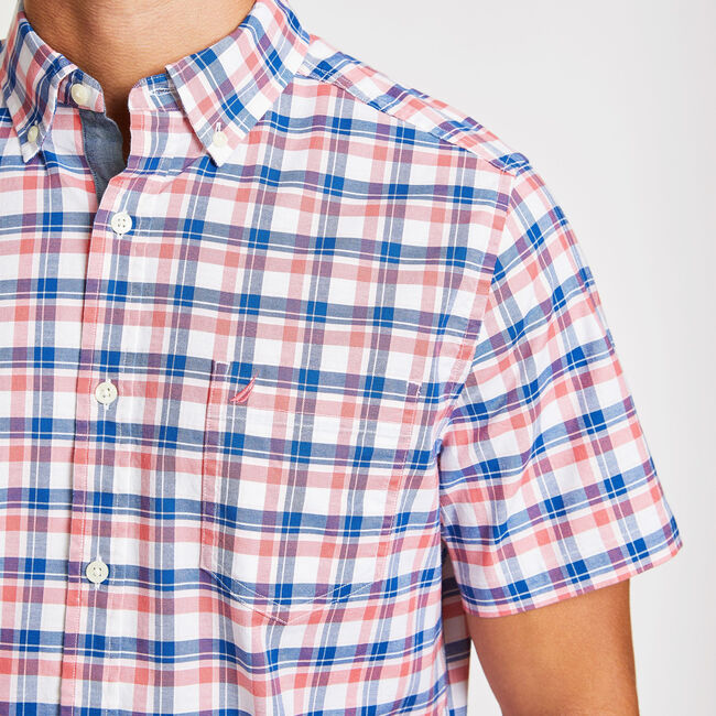 Short Sleeve Oxford Plaid Classic Fit Shirt,Spiced Coral,large