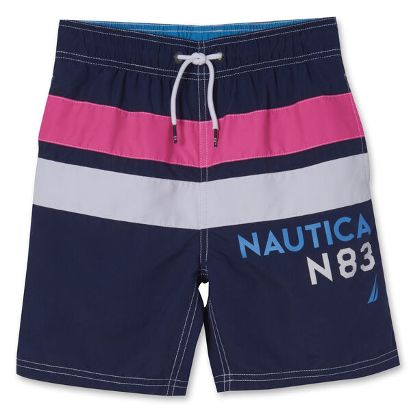 LITTLE BOYS' MARLEY STRIPE LOGO SWIM TRUNKS (4-7) - J Navy