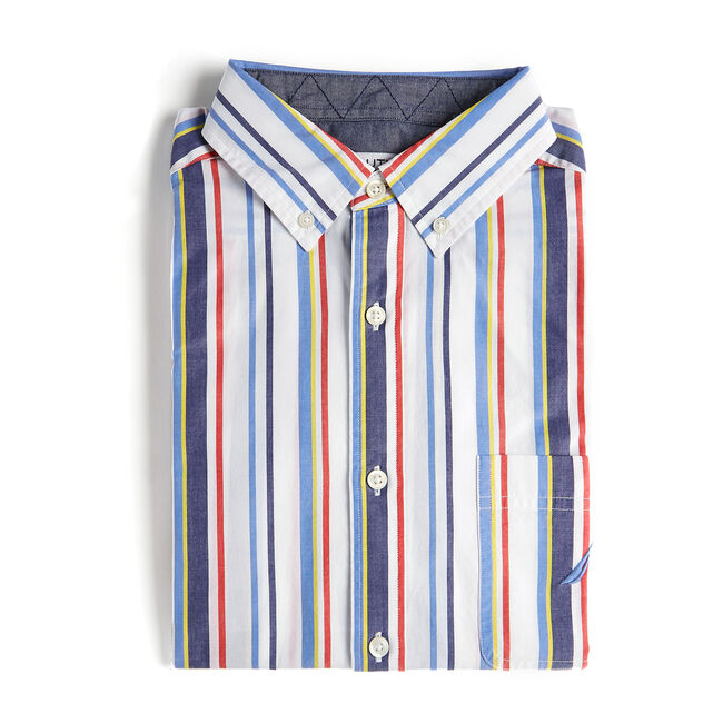 Short Sleeve Classic Fit Shirt in Multi Stripe,Bright White,large