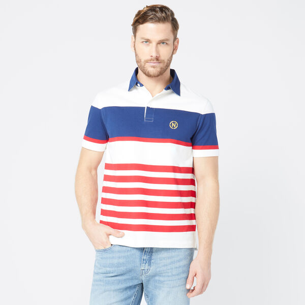 NAUTICA JEANS CO. STRIPED POLO - Sail White