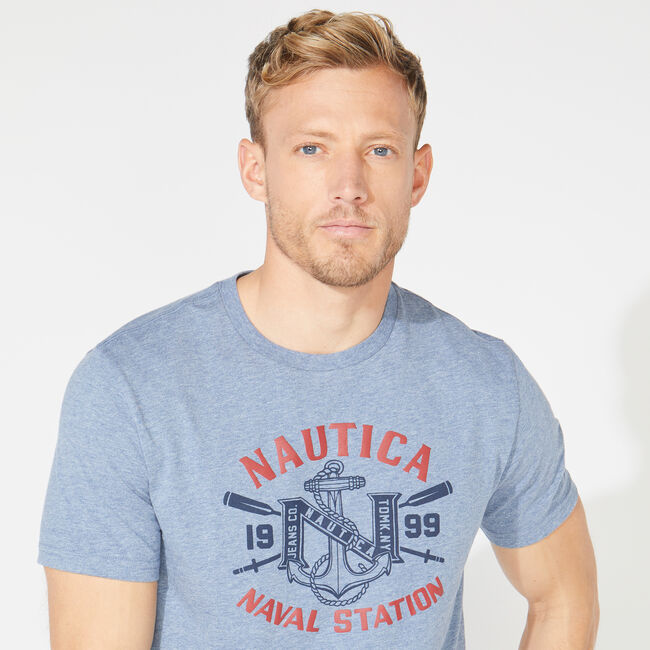 NAUTICA NAVAL STATION GRAPHIC TEE,Anchor Blue Heather,large