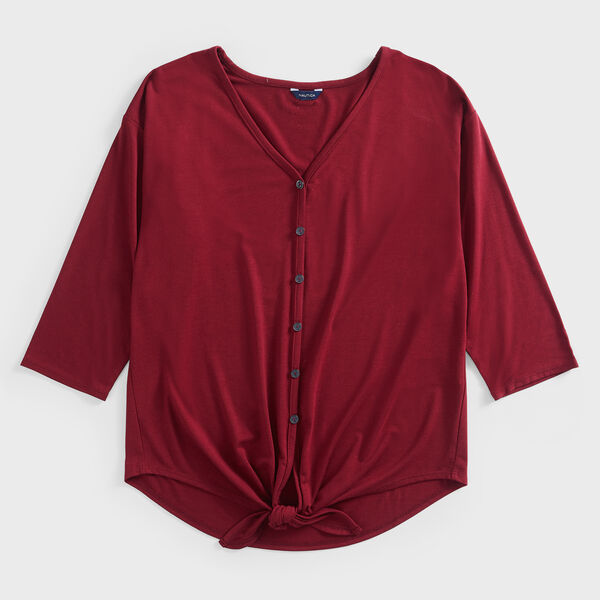 TIE-WAIST BUTTON-DOWN TOP - Classic Red